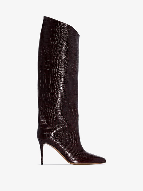 Alexandre Vauthier Brown Alex 90 crocodile-embossed leather boots