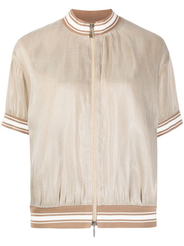 Eleventy short-sleeve bomber jacket in brown