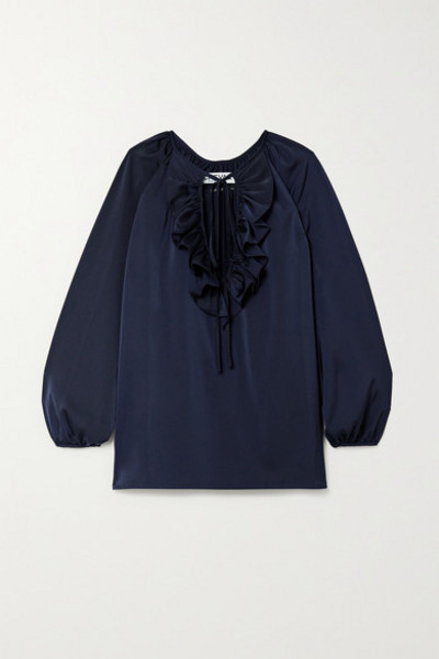 Àcheval Pampa Àcheval Pampa - Gorrion Tie-detailed Ruffled Satin Blouse - Navy