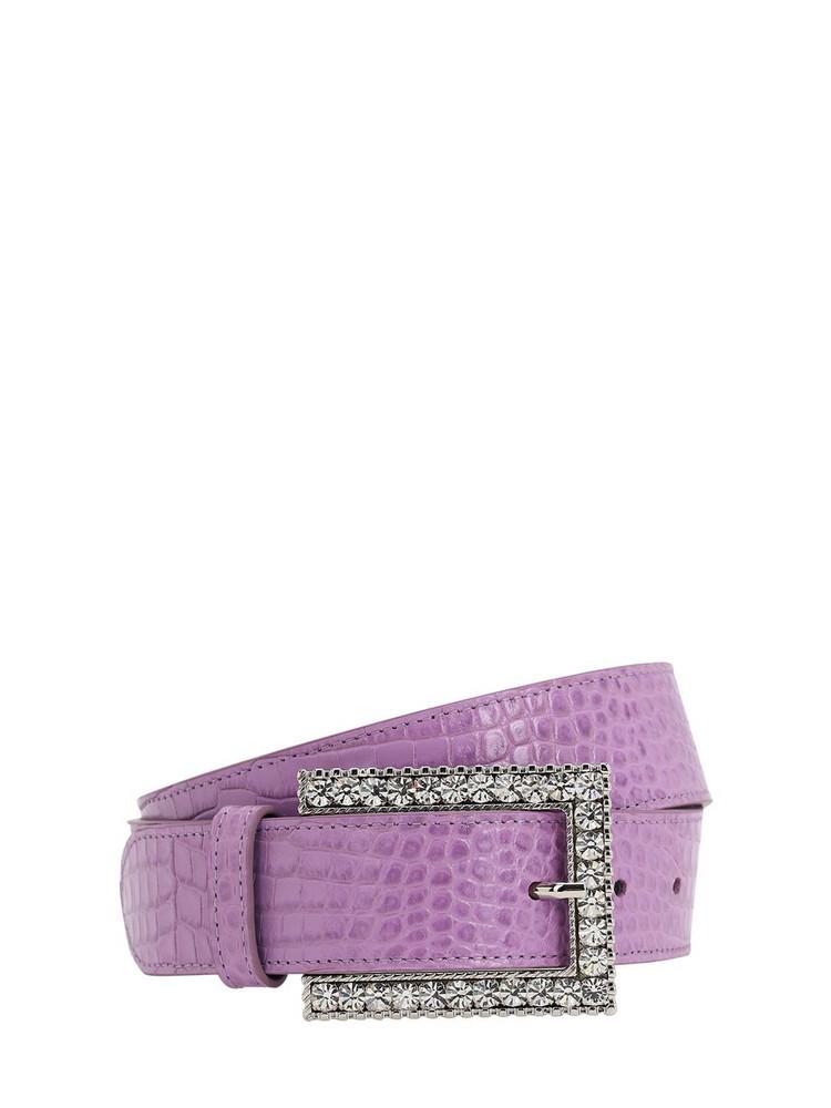ALESSANDRA RICH 30mm Croc Embossed Leather Belt in purple