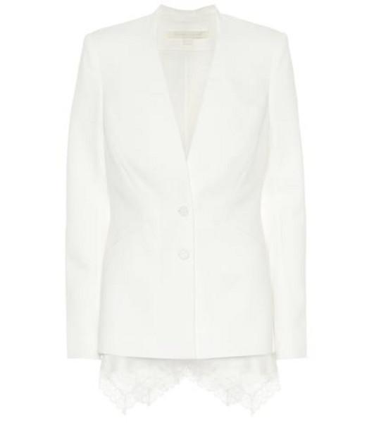 Jonathan Simkhai Lace-trimmed crêpe blazer in white