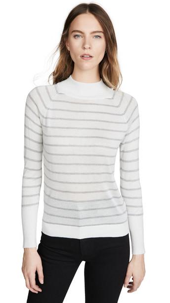 Chaser Striped Lurex Turtleneck Sweater in cream / silver
