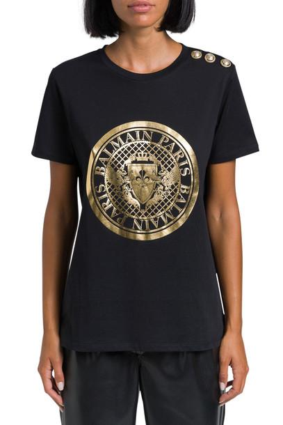 Balmain Logo Printed T-shirt in nero