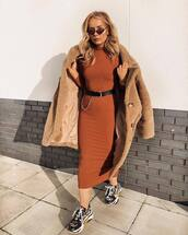 dress,midi dress,bodycon dress,black sneakers,teddy bear coat,black belt,sunglasses,turtleneck dress