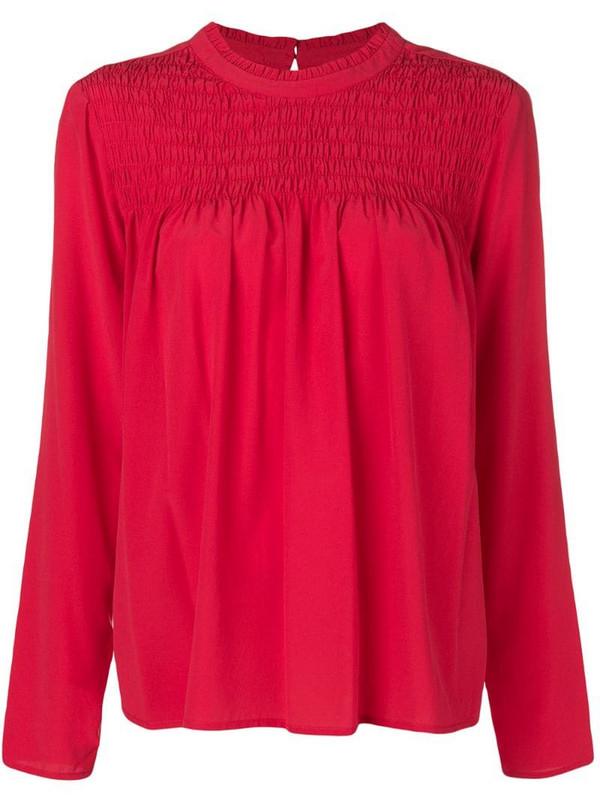 Steffen Schraut draped detail blouse in red