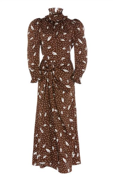 Alessandra Rich Printed Silk-Jacquard Midi Dress in brown