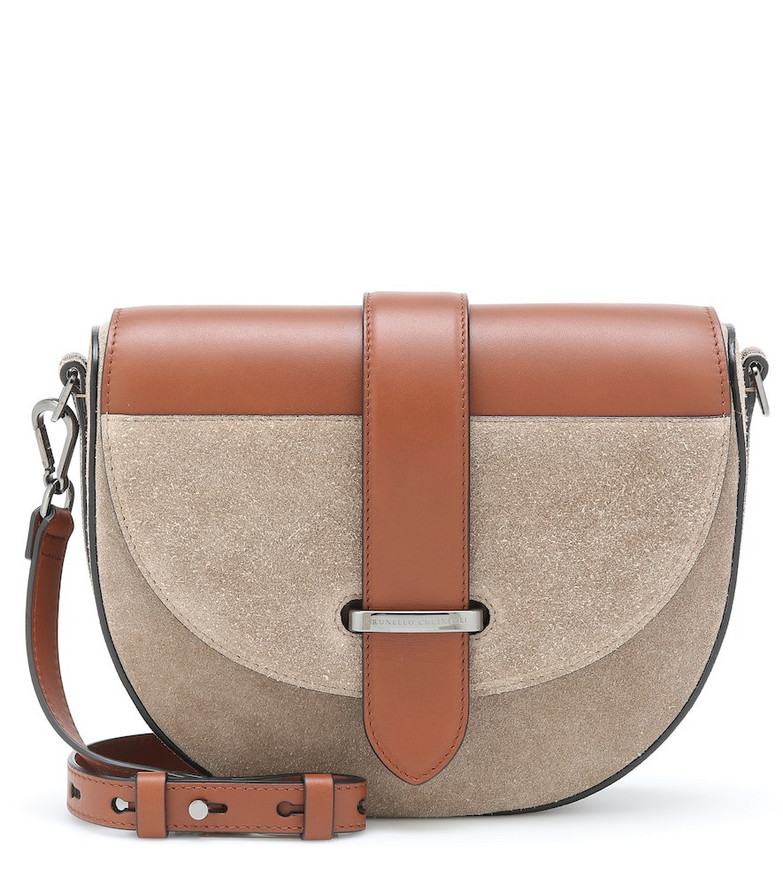Brunello Cucinelli Suede and leather crossbody bag in brown
