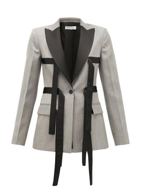 Jw Anderson - Single-breasted Contrast-strap Wool Blazer - Womens - Grey