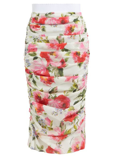 Dolce & Gabbana - Peony Print Silk Blend Crepe Pencil Skirt - Womens - White Multi