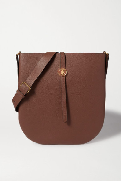 Burberry - Textured-leather Shoulder Bag - Brown