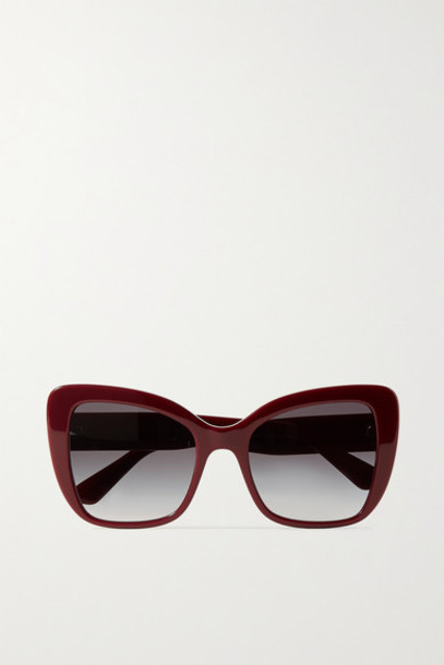 Dolce & Gabbana - Oversized Cat-eye Acetate Sunglasses - Burgundy
