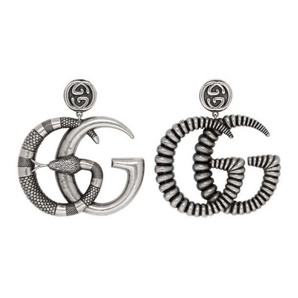 Gucci Silver & Black GG Marmont Earrings