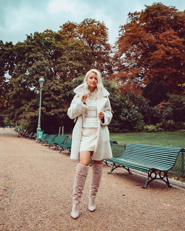 coat faux fur coat white coat knee high boots white skirt white sweater