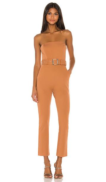 NBD Bronson Jumpsuit in Cognac in beige