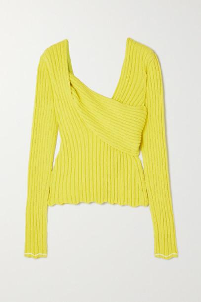 Bottega Veneta - Paneled Ribbed Cotton-blend Bouclé Sweater - Yellow