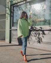 sweater,turtleneck sweater,green sweater,pumps,straight jeans,casual,knitted sweater,sunglasses