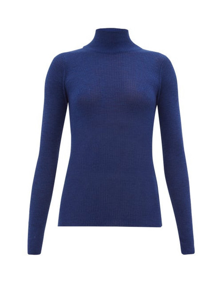 Ryan Roche - Ribbed Cashmere Roll-neck Sweater - Womens - Blue