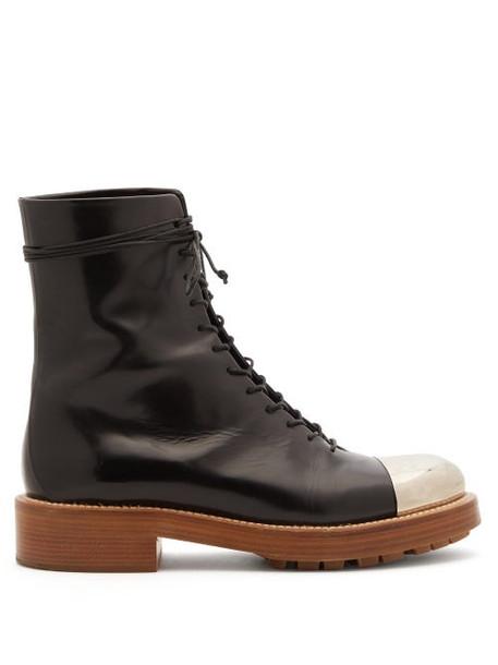 Gabriela Hearst - Riccardo Metal Toe-cap Leather Ankle Boots - Womens - Black Silver