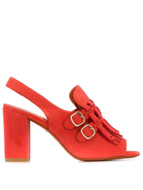 Santoni heeled sandals with buckles in red