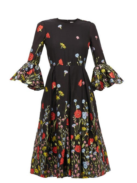 Erdem - Irvine Floral-jacquard Trumpet-sleeve Dress - Womens - Black Multi