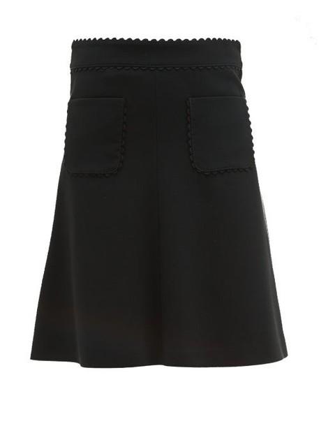 Redvalentino - Scalloped Edge Crepe Skirt - Womens - Black