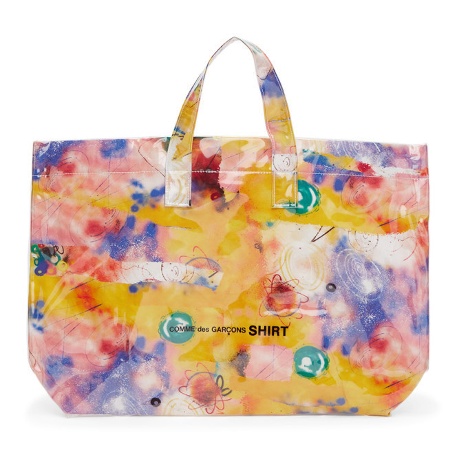 Comme des Garcons Shirt Pink Large Futura Edition Tote in print