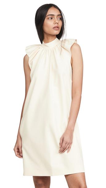 Victoria Victoria Beckham Ruched Shoulder Sleeveless Dress in ecru