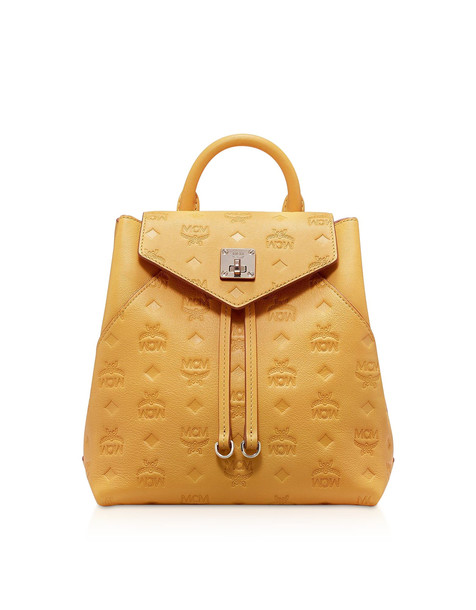 Mcm Essential Monogrammed Leather Small Backpack in yellow