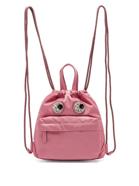 Anya Hindmarch - Mini Crystal Eyes Drawstring Backpack - Womens - Grey