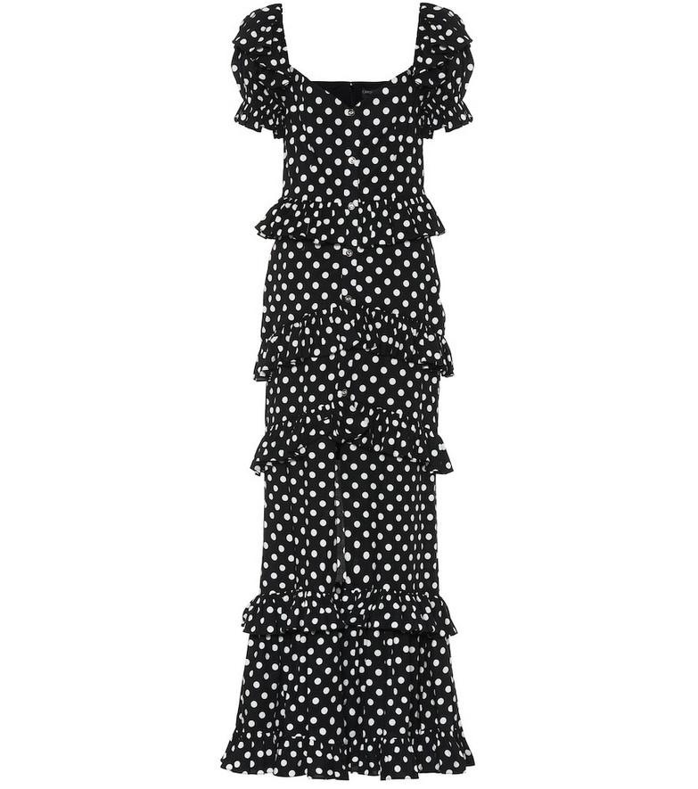 Caroline Constas Iva polka-dot stretch-cotton dress in black