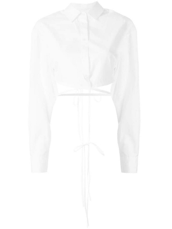 Christopher Esber wrapped waist shirt in white