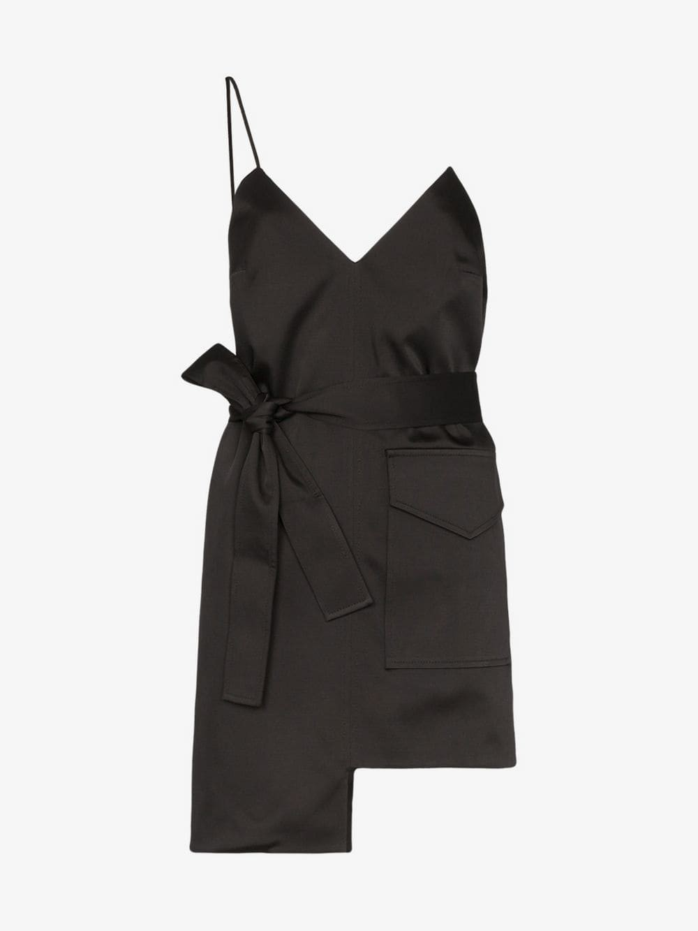 George Keburia sleeveless side pocket asymmetric mini dress in black