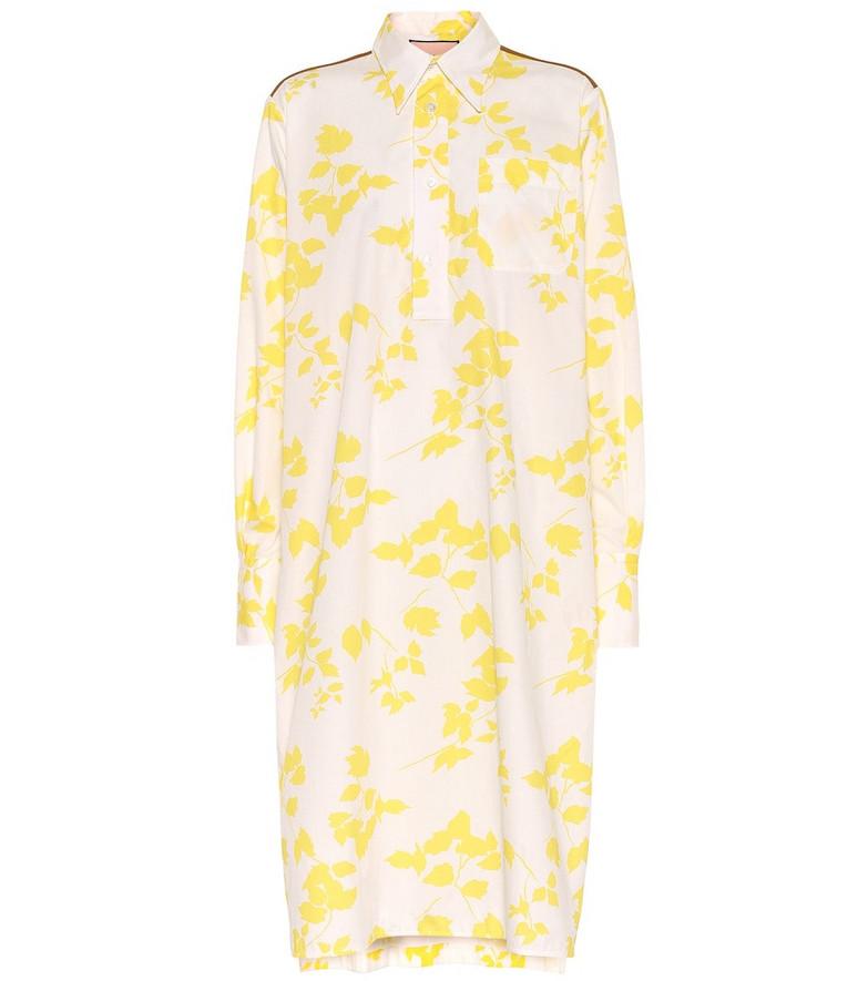 Plan C Floral cotton-blend shirt dress in yellow