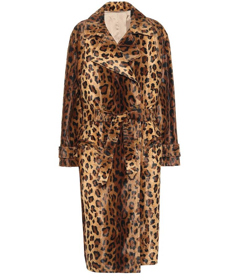 Blazé Milano Wait leopard-print velvet coat in brown