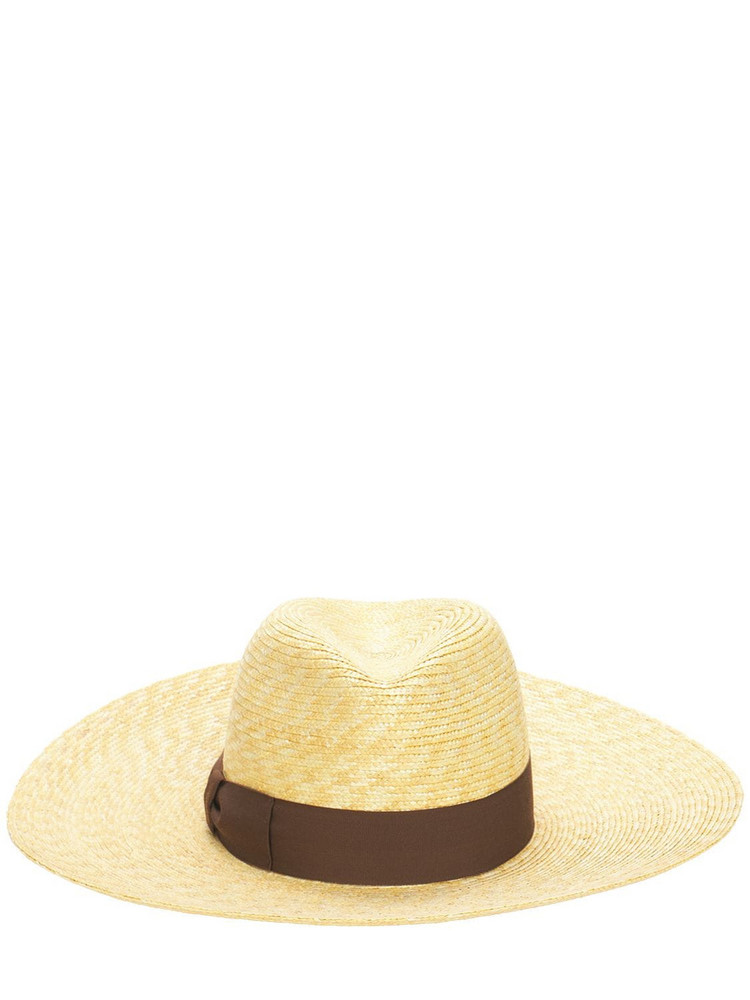 BORSALINO Medium Brim Straw Hat in brown