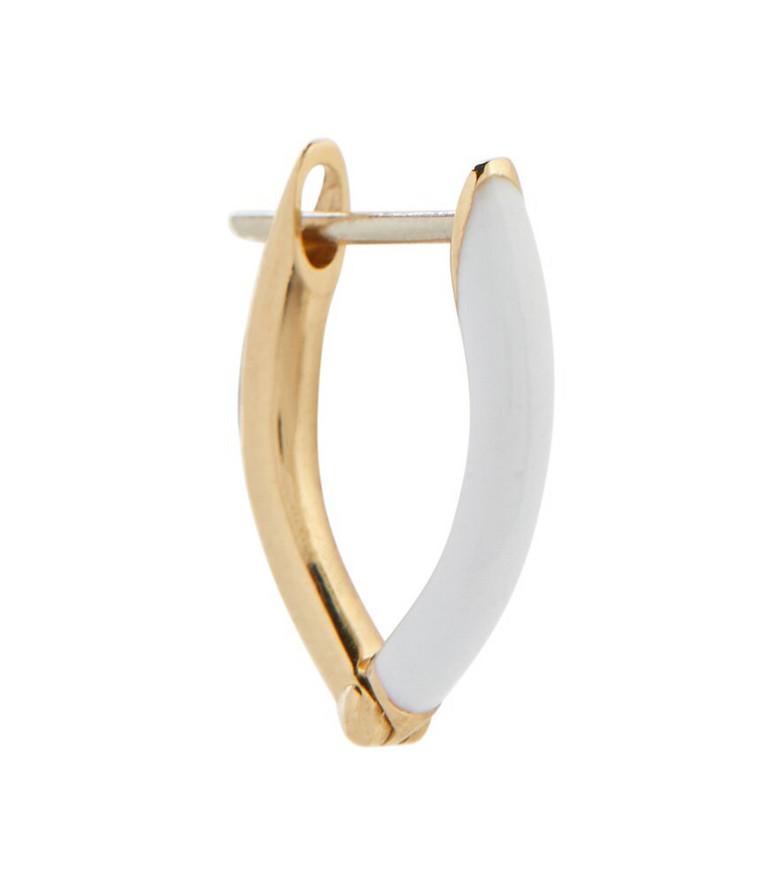 Melissa Kaye Cristina 18kt gold single hoop earring in white