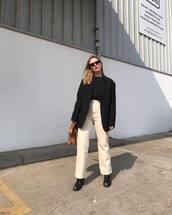 jeans,straight jeans,high waisted jeans,black blazer,black boots,brown bag,black t-shirt