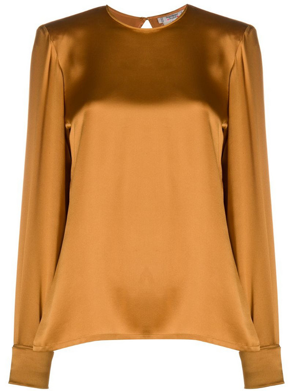 Yves Saint Laurent Pre-Owned silk keyhole blouse in brown
