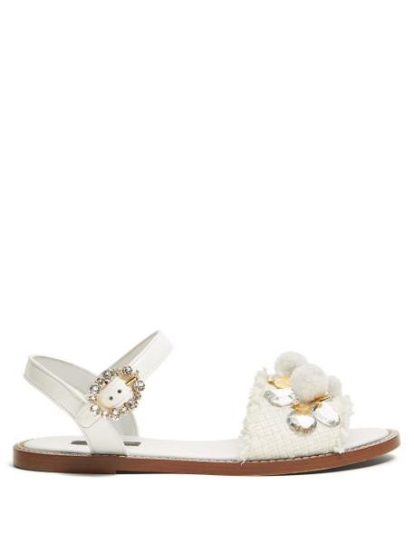 Dolce & Gabbana - Crystal And Pompom Embellished Raffia Sandals - Womens - White