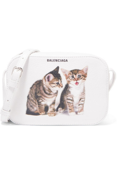 Balenciaga - Everyday Xs Aj Printed Leather Camera Bag - White