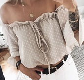 blouse,trendy,white,classic,nude,classy,polka dots,beige,cream,bow,brown,sweet,cute,top,elegant,croped,crop,crop tops,lace,mesh,see through,thin,light,light pink