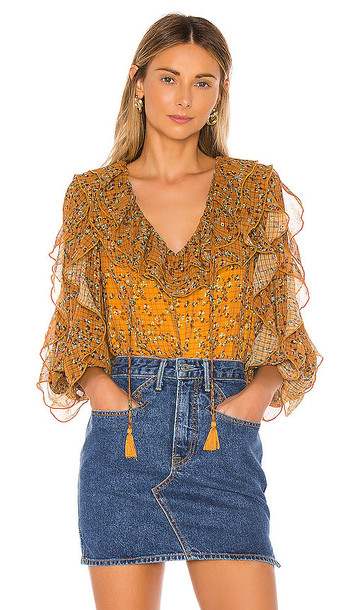 Tularosa Claire Blouse in Mustard