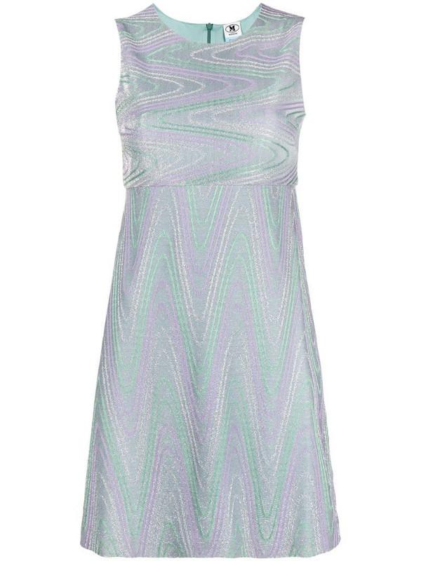 M Missoni zigzag-print sleeveless short dress in blue