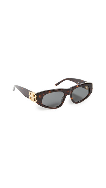Balenciaga Dynasty Vintage Inspired Oval Sunglasses in gold / green