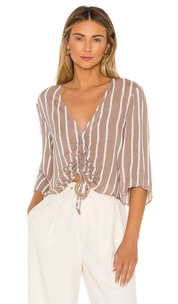 BCBGeneration Ruched Front Blouse in Taupe