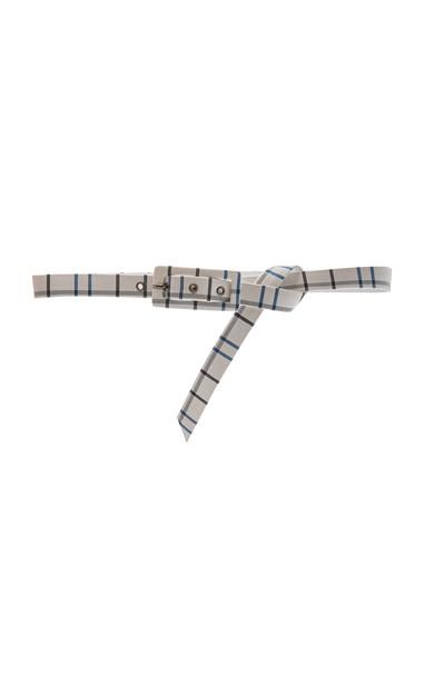 Carolina Herrera Plaid Print Thin Buckle Belt Size: XS in white