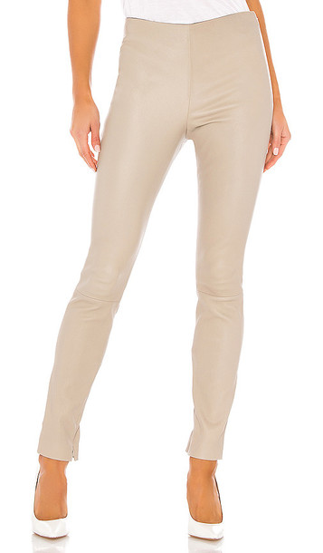 Theory Skinny Leather Legging in Beige