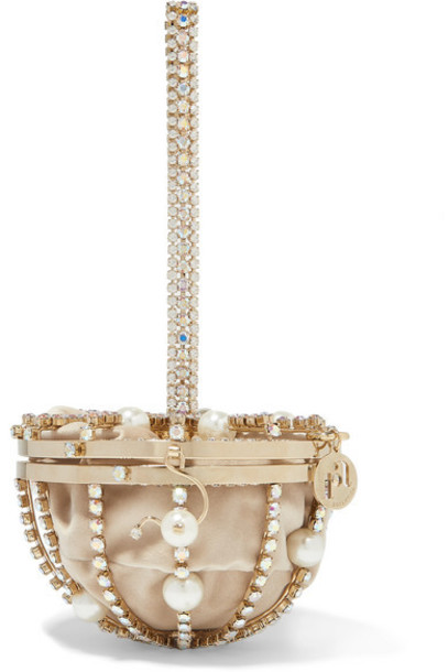 Rosantica - Afrodite Faux Pearl And Crystal-embellished Gold-tone And Velvet Tote