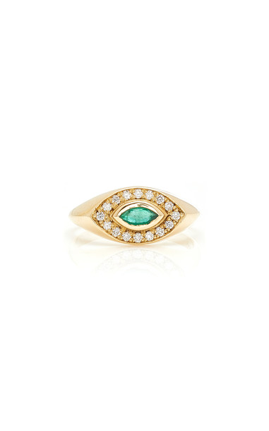 Zoe Chicco 14K Pave Diamond And Marquis Emerald Signet Ring in gold