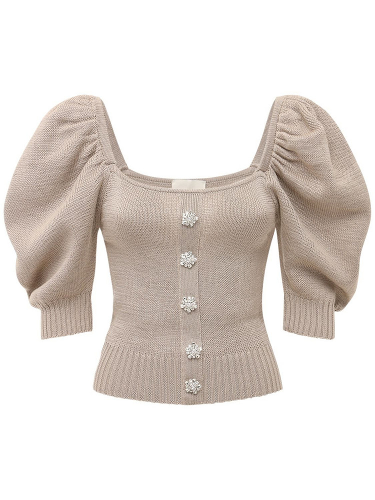 GIUSEPPE DI MORABITO Cotton Knit Top W/ Puff Sleeves in beige